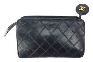 Chanel Quilted Leather Clutch Cosmetics Makeup Travel Toiletry Bag