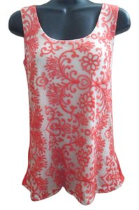 Maurices Lace New Embroidered Summer Top Coral & White