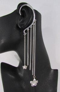 Women Ear Cuff Fashion Long Silver Chains Over The One Flower Earring