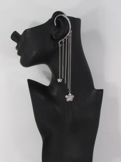 Other Women Ear Cuff long Silver Chains Over The One Flower Earring