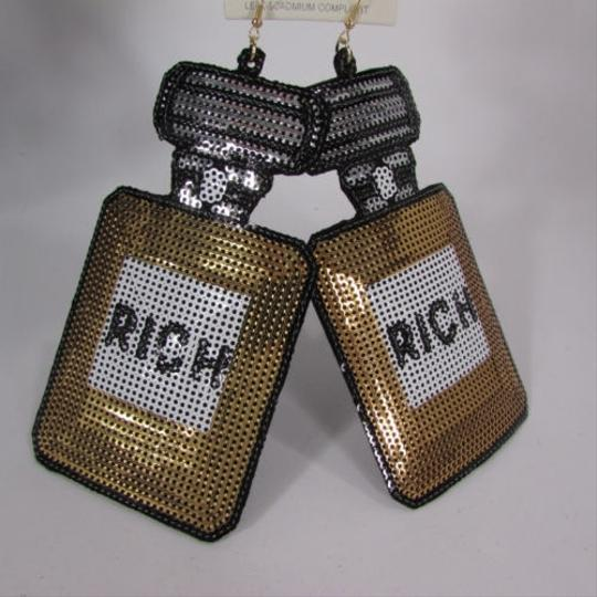 Other Women Gold Perfume Bottle Rich Sequins Hip Hop Fashion Hook Big Earrings Set