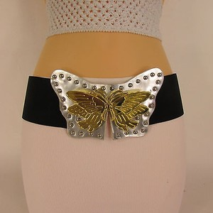 Other Women Waist Hip Black Elastic Belt Silver Gold Butterfly 29-35