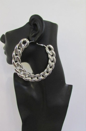 Other Women Thick Silver Chunky Chains 3.5 Metal Hoop Fashion Earrings Set