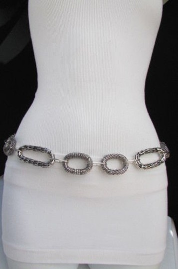 Other Women Long Fashion Necklace Silver Big Metal Loop Chains Belt