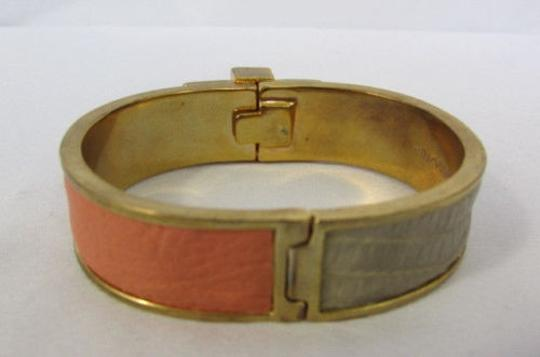 BCBGMAXAZRIA Bcbg Women Bracelet Gold Metal Fashion Cuff Coral Ivory Gray Faux Snake Leather