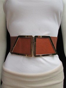 Women Waist Hip Moca Brown Elastic Fashion Belt Gold 80s Buckle 25-34