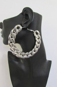 Women Thick Silver Chunky Metal Chains 3.6 Hoop Huge Fashion Earrings
