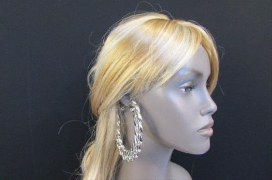 Other Women Thick Silver Chunky Metal Chains 3.6 Hoop Huge Fashion Earrings