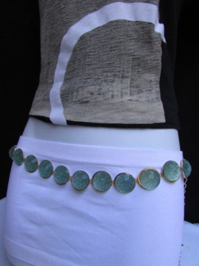 Other Women Gold Metal Big Mint Blue Gummy Drop Chains Fashion Belt 27-40
