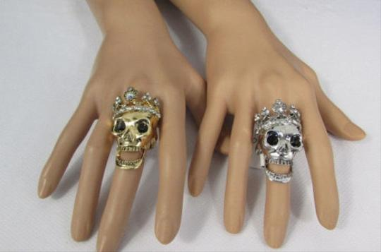 Other Women Skull King Metal Ring Gold OR Silver Rhinestones Elastic