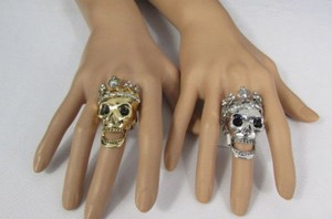 Other Women Skull King Metal Fashion Ring Gold Silver Rhinestones Elastic 1
