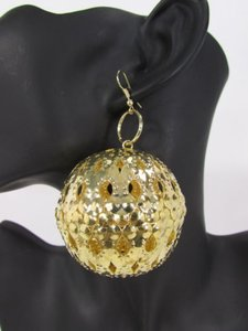 Other Women Gold Earrings Set Metal Disco Balls Dangle Dressy