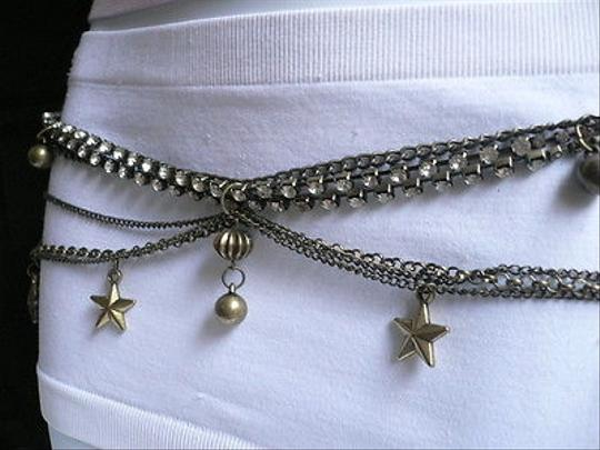 Other Women Antique Gold Metal Chains Stars Balls Belt Silver Rhinestones