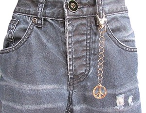 Other Men Women Silver Metal Round Key Chain 4.55 Long Peace Sign Jeans Bag Charm