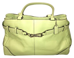 Coach Leather Green Leather Satchel in light green