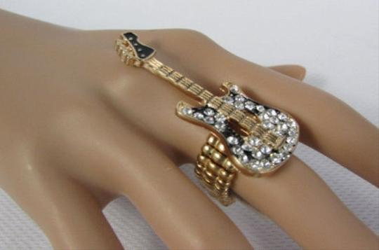 Other Women Gold Metal Electric Guitar Fashion Ring Silver Rhinestone Elastic Band