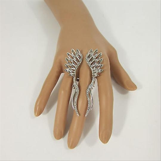 Other Women Metallic Silver Metal Angle Wings Fashion Ring Rhinestones One
