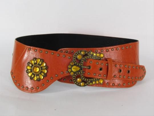 Other Women Brown Orange Faux Leather Wide Western Fashion Belt Buckle
