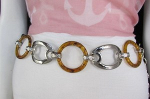 Other Women Big Brown Circles Silver Plastic Chains Fashion Belt Hip High Waist