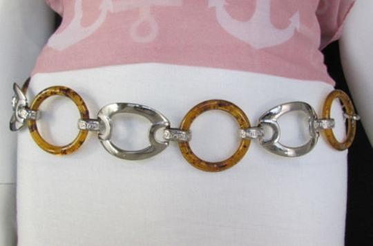 Other Women Big Brown Circles Silver Plastic Chains Belt