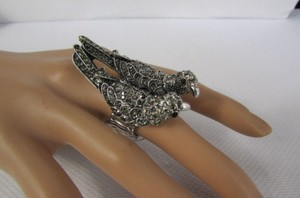 Other Women Silver Love Birds Metal Pigeon Fashion Ring Rhinestones Elastic Band