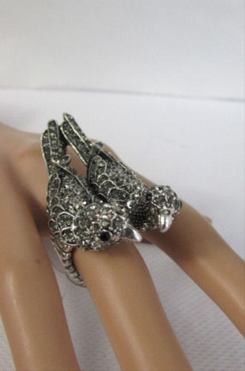Other Women Silver Love Birds Pigeon Ring Rhinestones Elastic Band