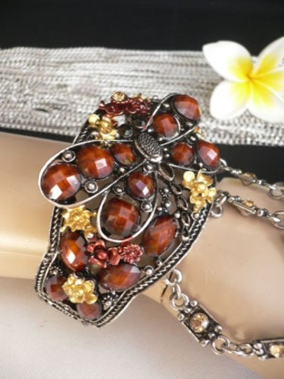 Other Women Silver Cuff Slave Bracelet Coneccted Ring Brown Flowers Big Butterfly