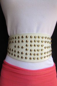 Women High Waist Wide White Stretch Fashion Belt Silver Studs 30-40