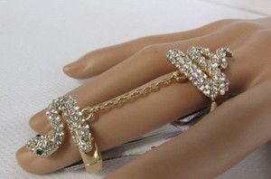 Other Women Gold Metal Chains Snake Fashion Ring Elastic Band Silver Rhinestones