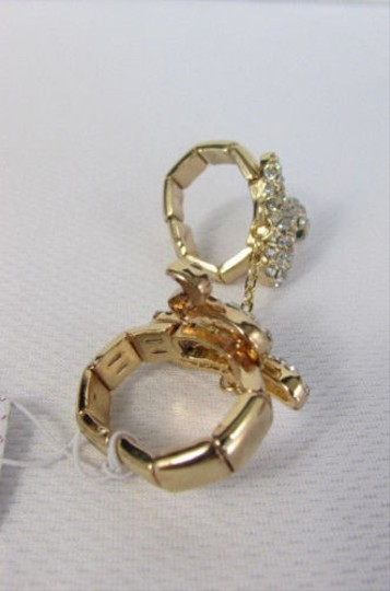 Other Women Gold Metal Chains Snake Ring Elastic Band Silver Rhinestones