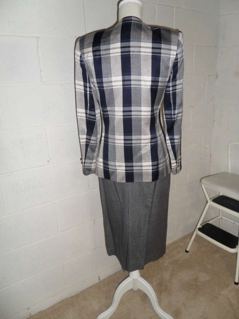 Worthington Navy and Grey Plaid Skirt Suit