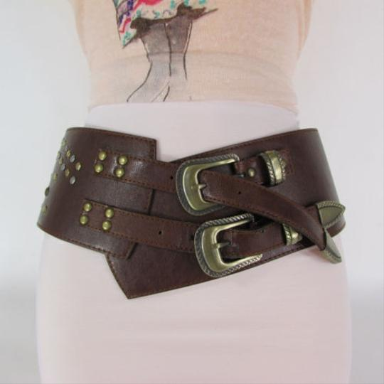 Other Women Brown Dark Brown Faux Leather Wide Western Fashion Belt Buckle