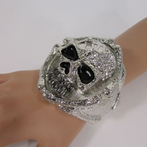 N. Women Silver Metal Skeleton Skulls Fashion Bracelet Jewelry Clear Rhinestones