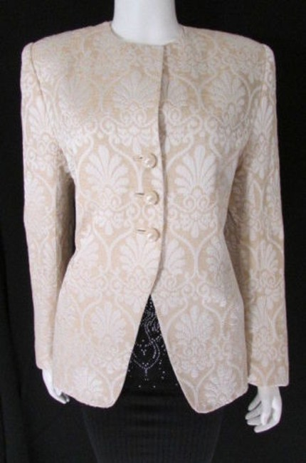 Peggy Jennings Vintage Women Classic Long Quilted Beige Ivory Jacket