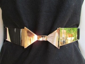 Other Women High Waist Hip Gold Metal Plate Bow Belt Black Elastic