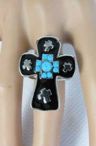 Women Black Cross Silver Metal Fashion Ring Elastic Band Blue Turquois Dots