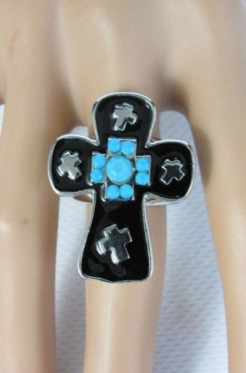 Other Women Black Cross Silver Metal Fashion Ring Elastic Band Blue Turquois Dots