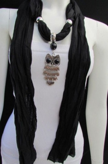 Other Women Fashion Necklace Soft Fabric Scarf Owl Pendant Black Gray Dark Blue