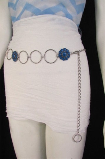 Other Women Silver Metal Chains Blue Flowers Fashion Belt Hip Waist 26-40