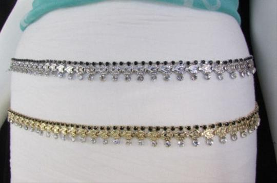 Other Women Silver Gold Metal Chains Fashion Belt Hip Waist Black Rhinestones