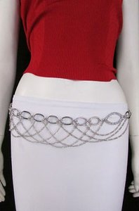 Women Waist Hip Silver Fashion Metal Belt Oval Shape 28-42