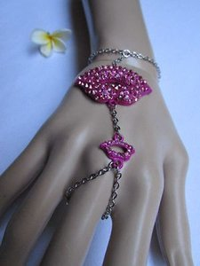 Other Women Silver Metal Purple Lips Kiss Bracelet Hand Chains