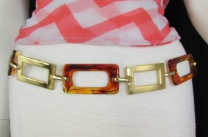 Women Big Gold Metal Plates Chains Brown Squares Bar Fashion Belt Hip Waist