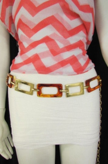 Other Women Big Gold Metal Plates Chains Brown Squares Bar Fashion Belt Hip Waist