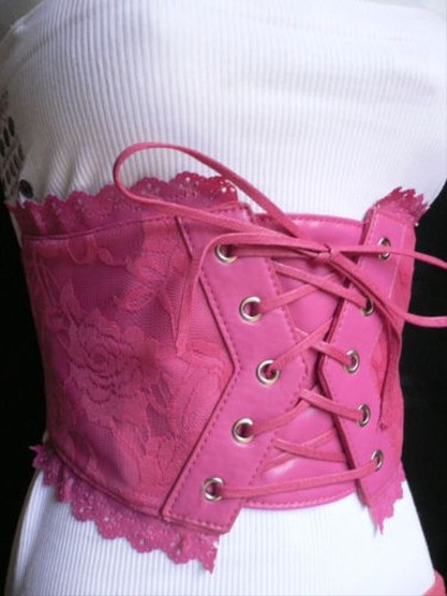 Other Women Summer Pink Wide Corset Flowers Lace Tie High Waist Fashion Belt