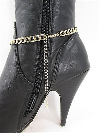 Other Fashion Jewelry Boot Gold Black Chain Bracelet Diamond Shoe Bling Anklet Charm