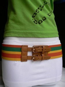 Women Elastic Orange Yellow Green Fashion Belt Brown Buckle 27-40