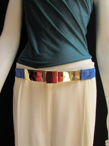 Other Women High Waist Hip Gold Thin Metal Plate Belt Elastic Blue 27-42