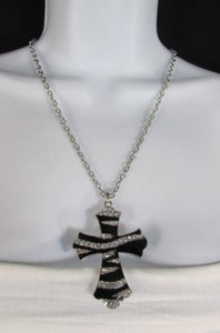 Other Women Long Silver Black Metal Chain Fashion Necklace Big Zebra