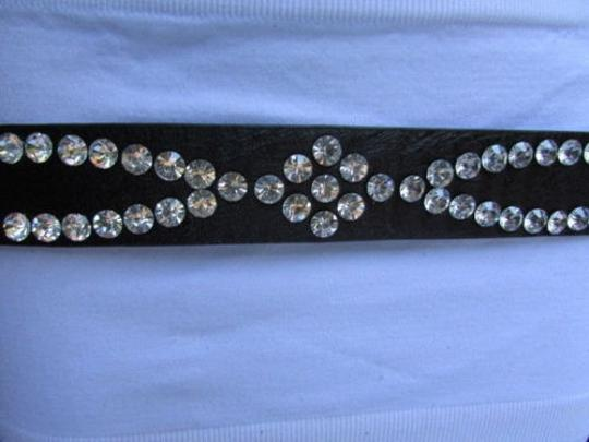Other Women Black Faux Leather Western Fashion Belt Long Rhinestones 30-36